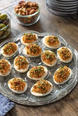 A platter filled with chipotle keto deviled eggs