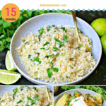 pinterest image for cilantro lime cauliflower rice