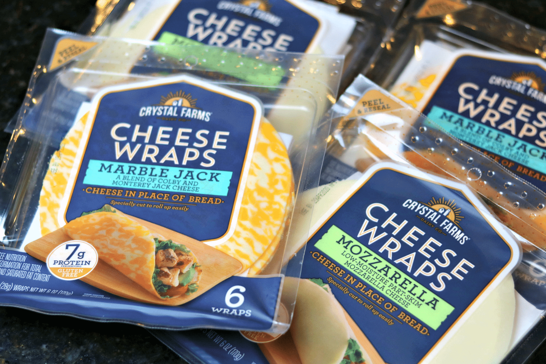 Crystal Farms Cheese Wraps on a counter