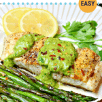 Pinterest image for pan-seared halibut