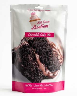 One package of Keto Queen Kreations chocolate cake mix