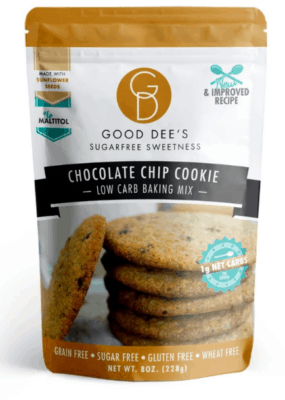 One package of Good Dee's low carb Chocolate Chip Cookie Mix