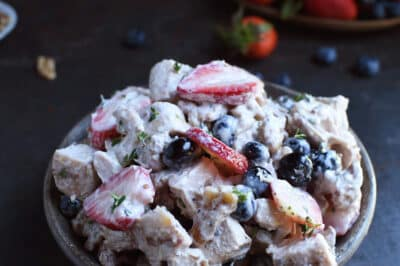 Nut and Berry Chicken Salad in a serving dish