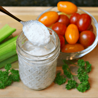 ranch dressing in a jar with vegetables